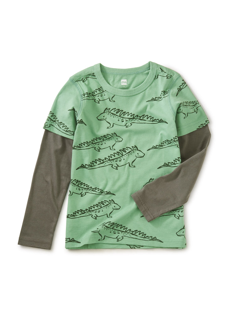 Printed Layered Sleeve Tee, Green Iguana