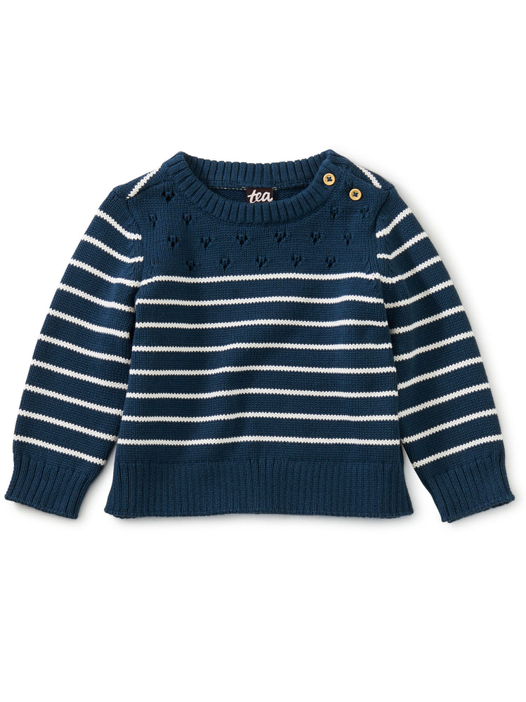 Breton Stripe Baby Sweater, Whale Blue