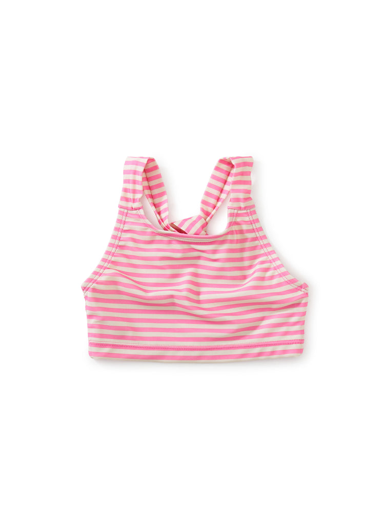 Cross Back Tankini Top, Skinny Stripe in Perrenial