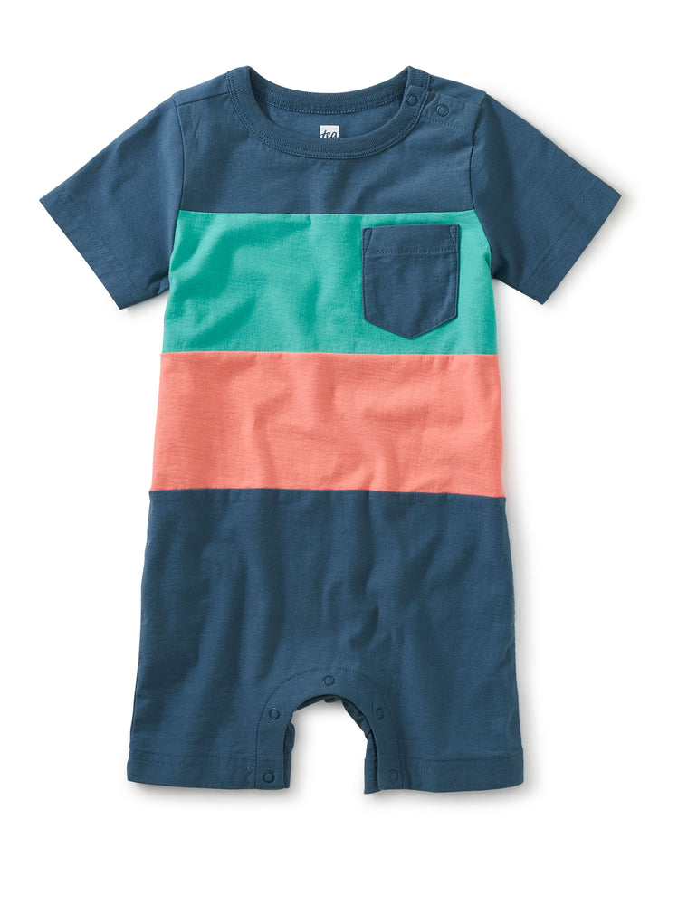 Pop Pocket Shortie Romper, Indian Teal