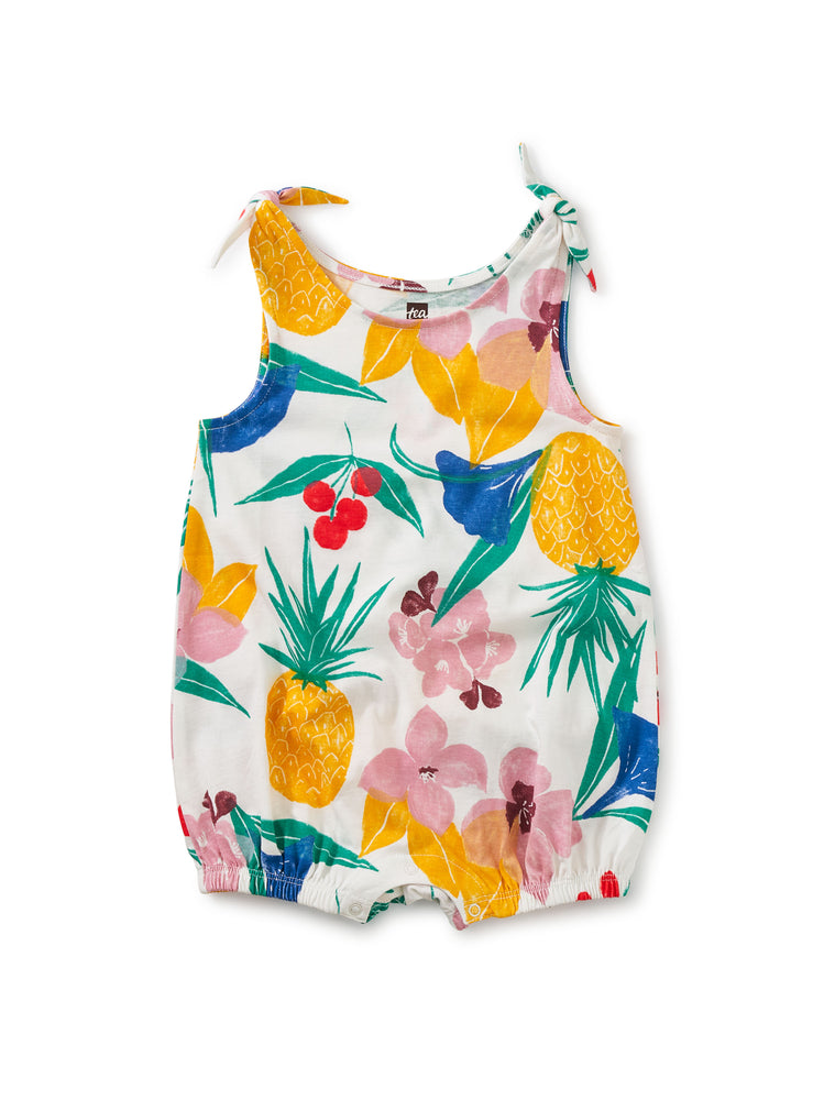 Tie Shoulder Baby Romper, Fruity Floral