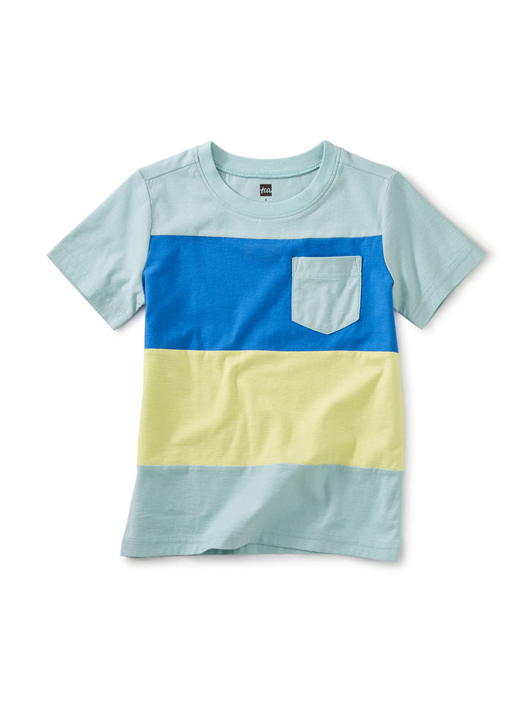Pop Pocket Stripe Tee, Canal Blue