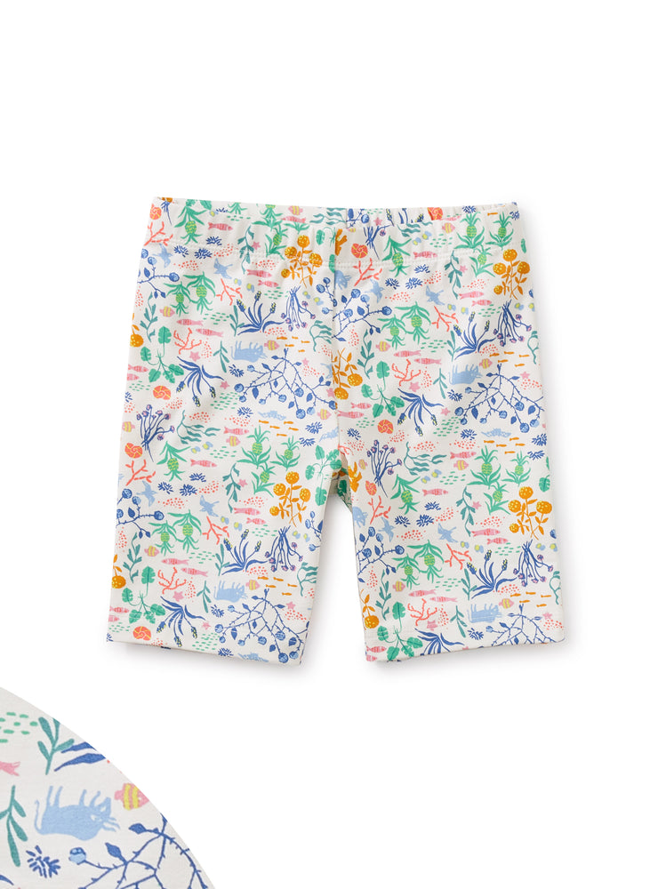 Printed Bike Shorts, Azores Island Liberty in Chalk