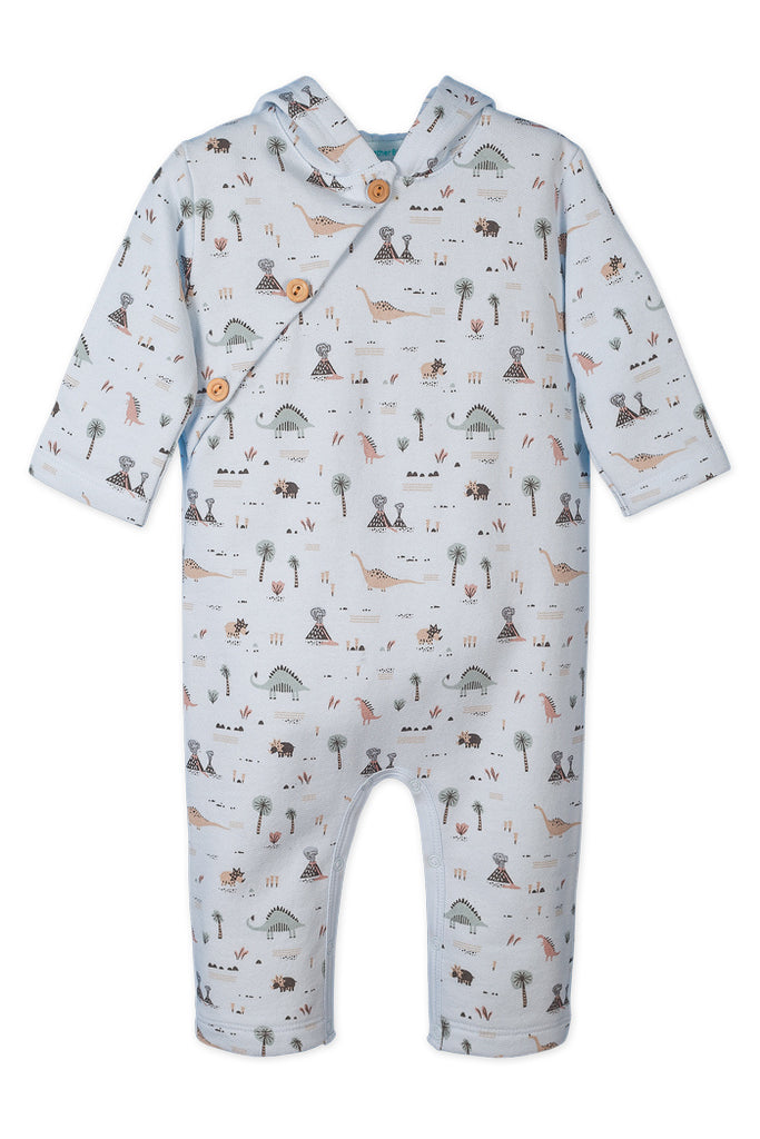 Fleece Hoody Romper, Dinosaurs on Baby Blue