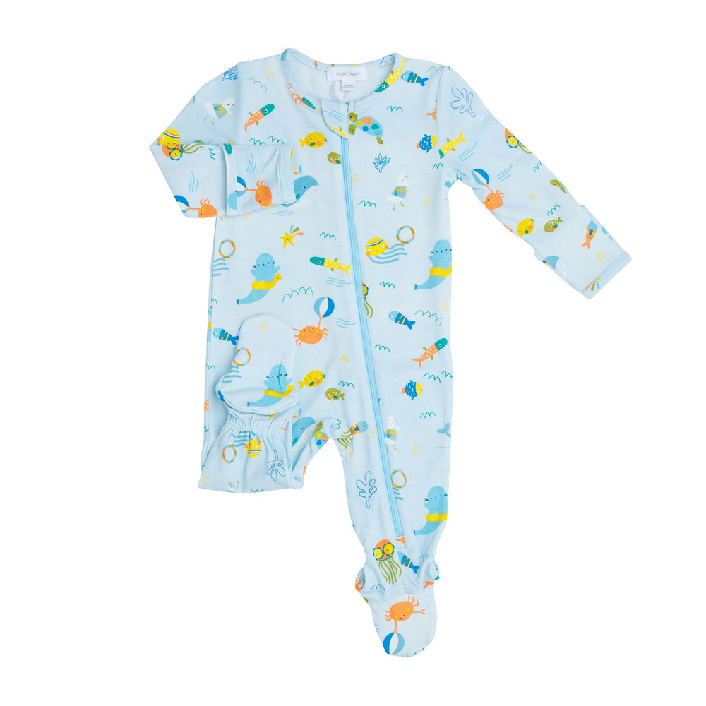 Sea Creatures Zipper Footie