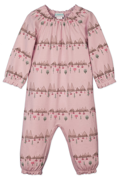 Bowless Romper, Ski Trip on Soft Pink