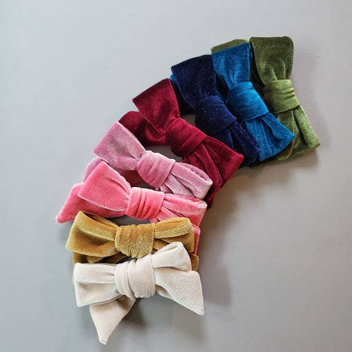 Velvet Modern Hair Bow, Alligator Clip