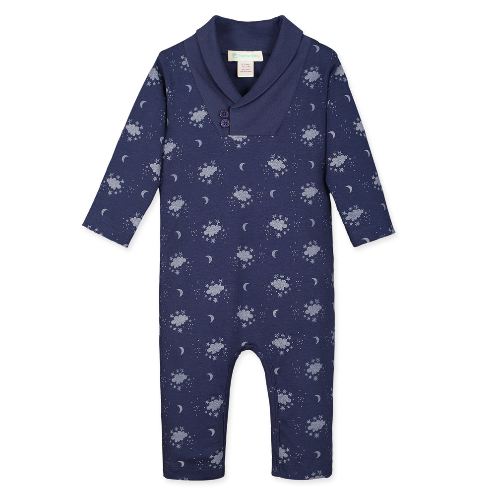 Shawl Neck Romper, Night Sky on Indigo