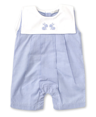 Pique Baby Bunnies Sleeveless Playsuit, Light Blue