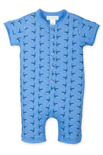 Feather Baby Henley Romper, Fin Whale on Blue