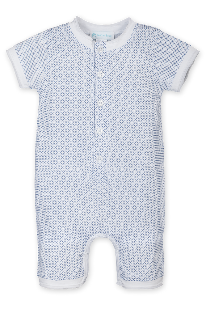 Feather Baby Henley Romper, Tiny Geo on White