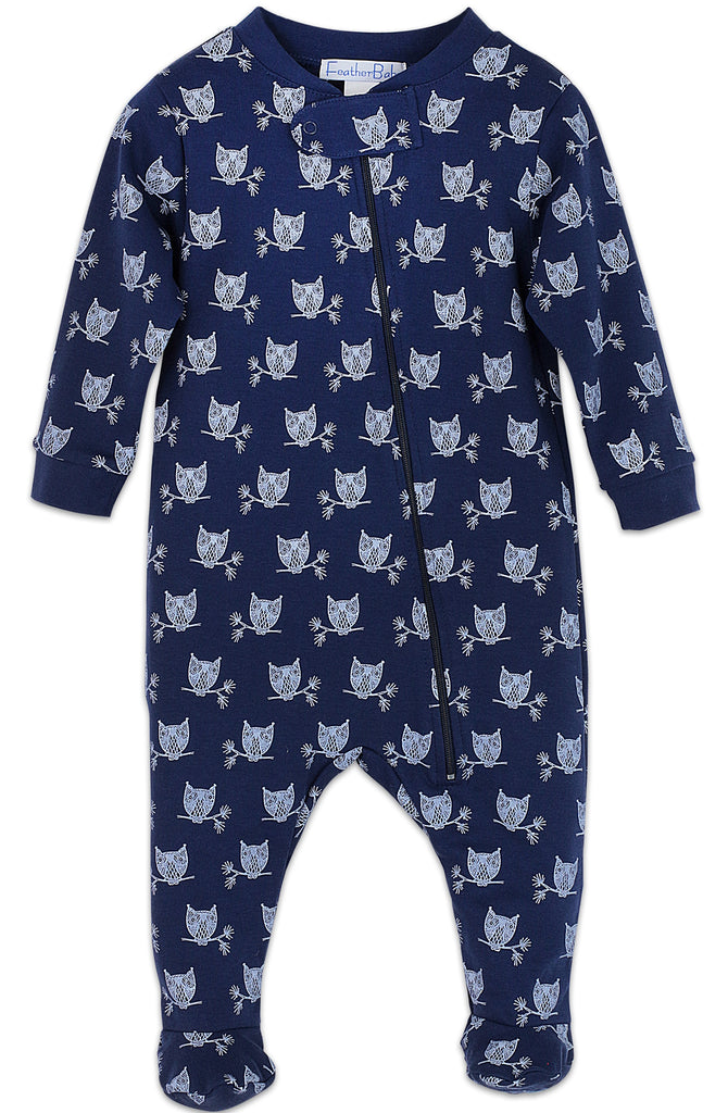 Zipper Footie - Owls on Indigo