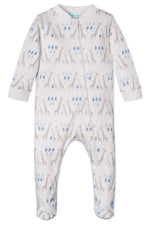 Zipper Footie, Giraffe on White