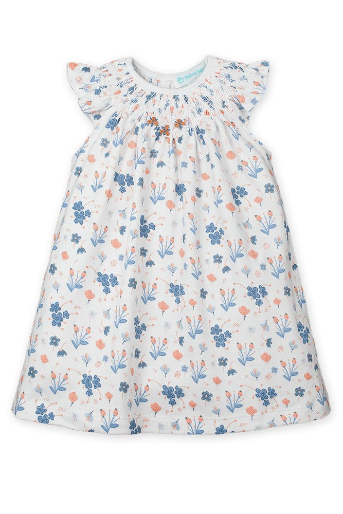 Hand Smocked Dress  + Bloomer - Emily on Baby Blue