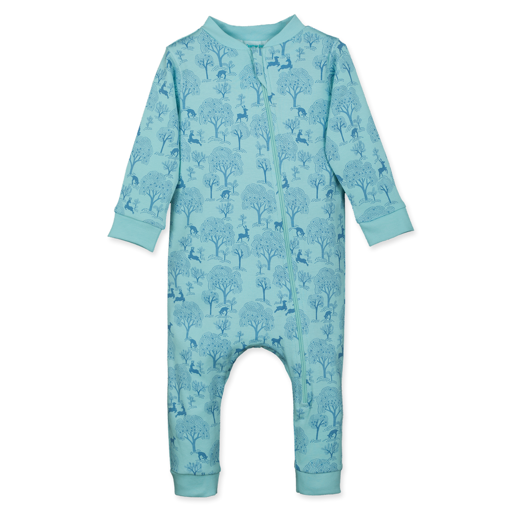 Zipper Romper, Deer & Appletrees on Aqua