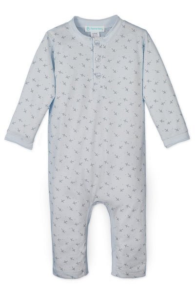 Button Henley Romper, Tiny Airplanes on Baby Blue