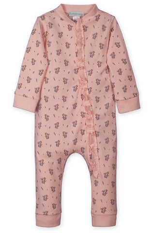 Zipper Romper with Ruffle, Koalas on Coral