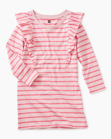 Striped Ruffle Dress, Apple Blossom