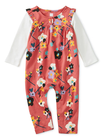 Printed Henley Layered Sleeve Romper, Himalayan Blossoms