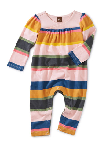 Striped Wrap Neck Romper, Festival Stripe