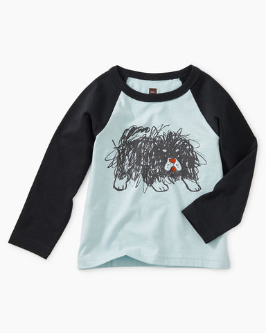 Scribble Dog Graphic Raglan Tee, Skylight