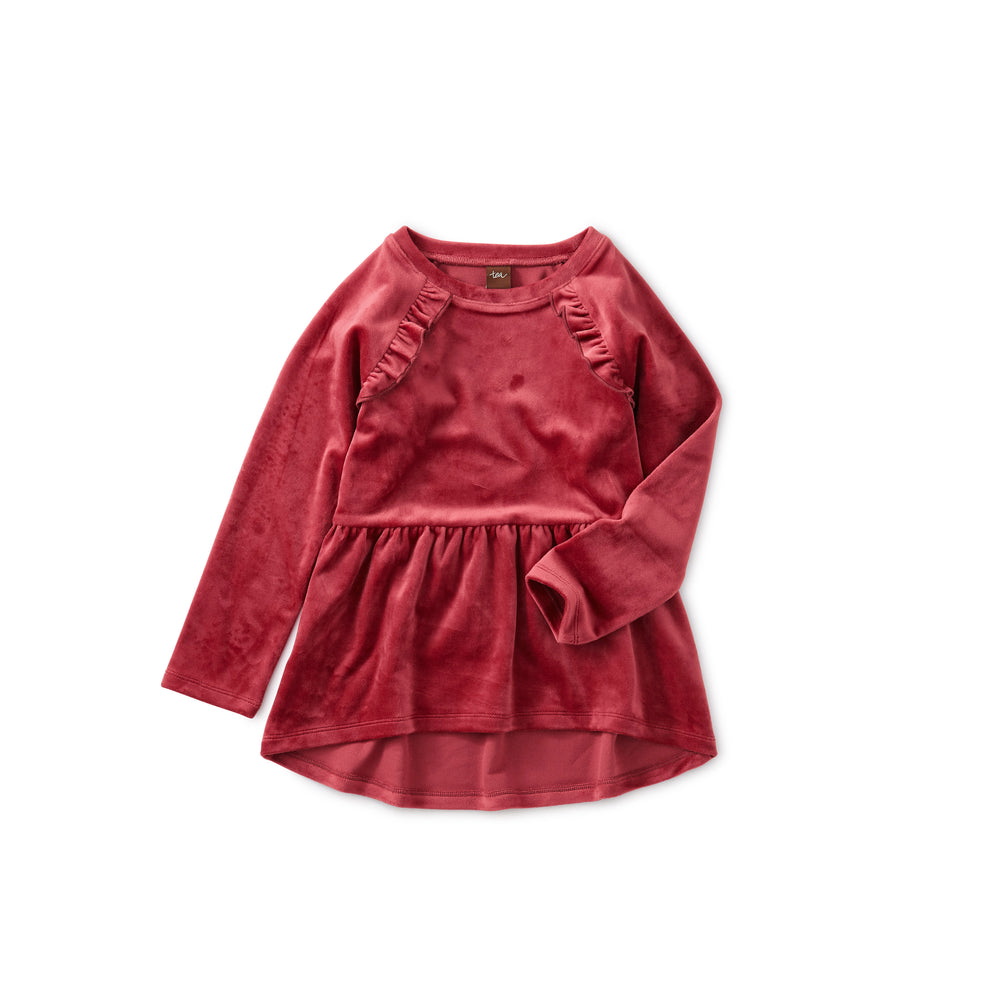 Velour Tunic Ruffle Top, Earth Red