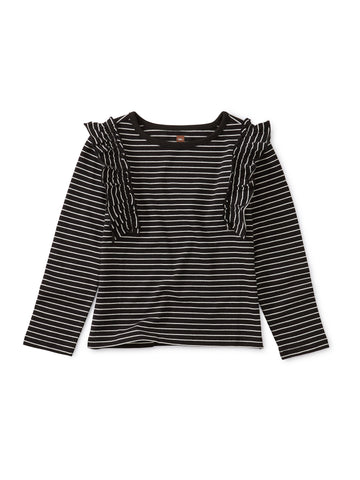 Striped Ruffle Flutter Top, Jet Black