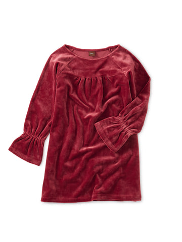 Velour Bell Sleeve Dress, Earth Red