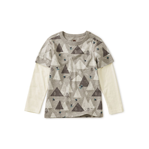 Printed Layered Sleeve Tee, Himalayan Ski
