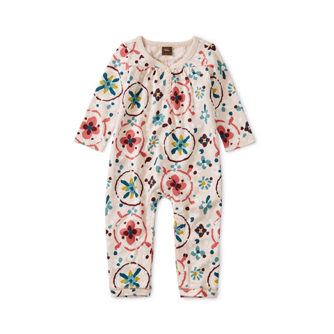 Shirred Henley Romper, Floral Tibetan Rugs