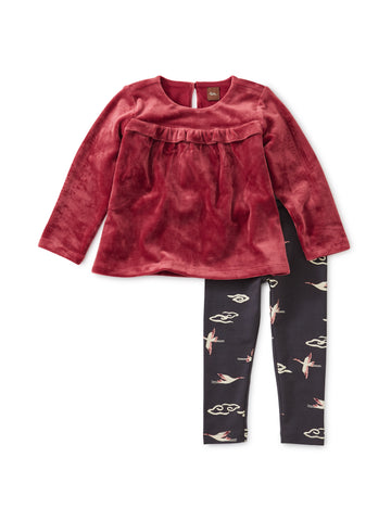 Velour Baby Set, Earth Red