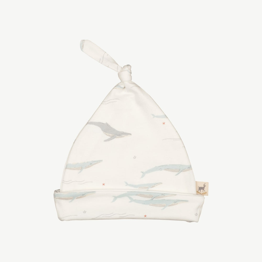 Passing Whales Knotted Beanie, Eco White