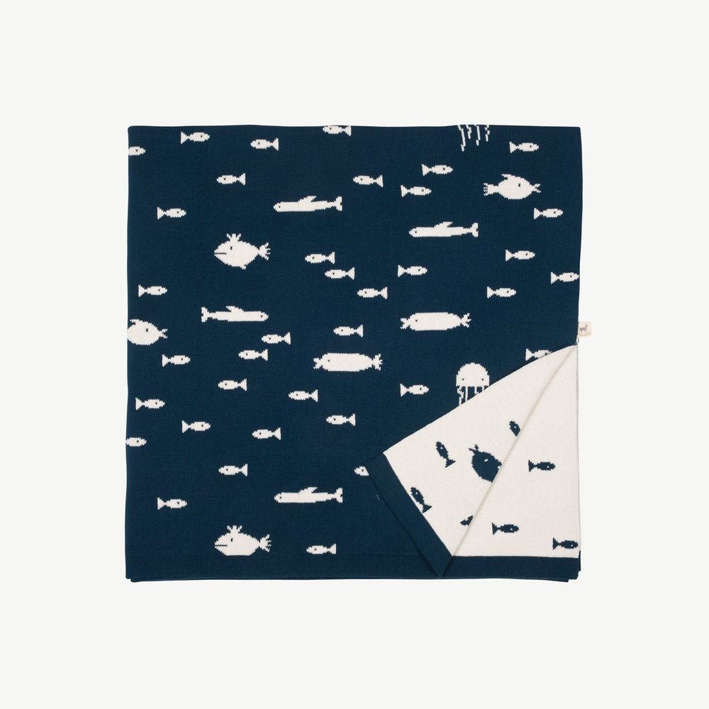 Stranger Fish Knit Blanket, Poseidon Blue