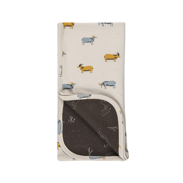 Double Sided Blanket, Golden Blue Goat on White Sand