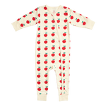 Organic Romper, Antique White Apples