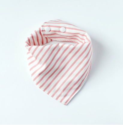 Bandana Bib in Blush Stripes