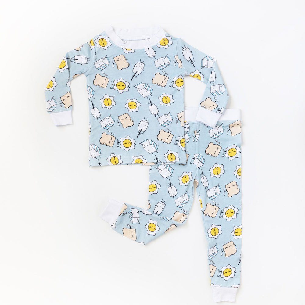 Blue Breakfast Buddies Two-Piece Bamboo Pajama Set