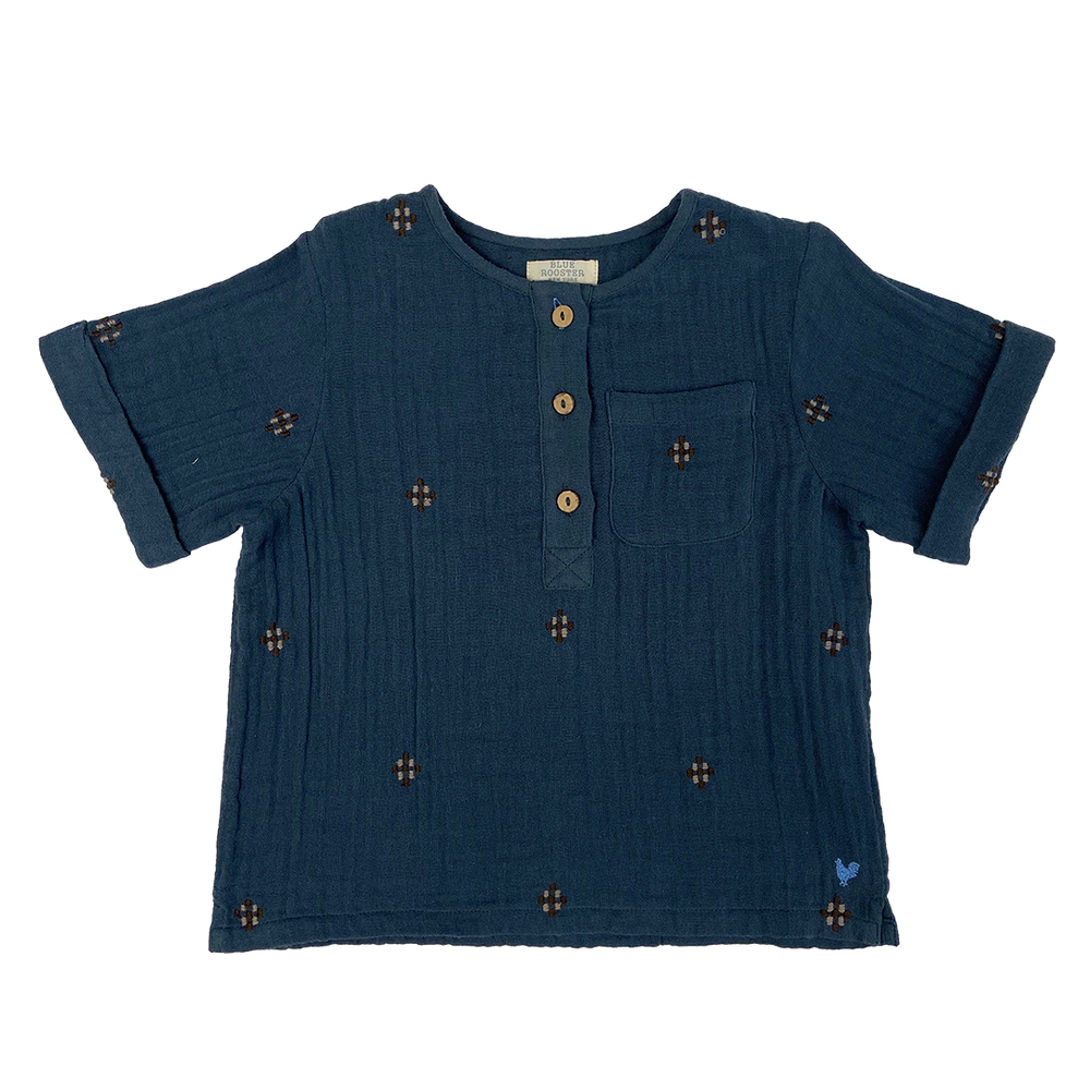 Wylie Shirt, Dark Slate with Embroidery
