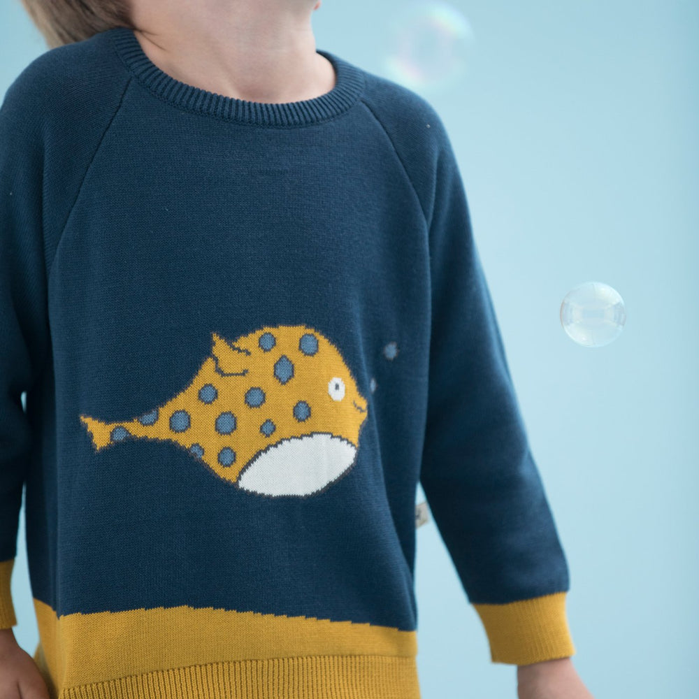Blowfish Knit Pullover, Poseidon Blue