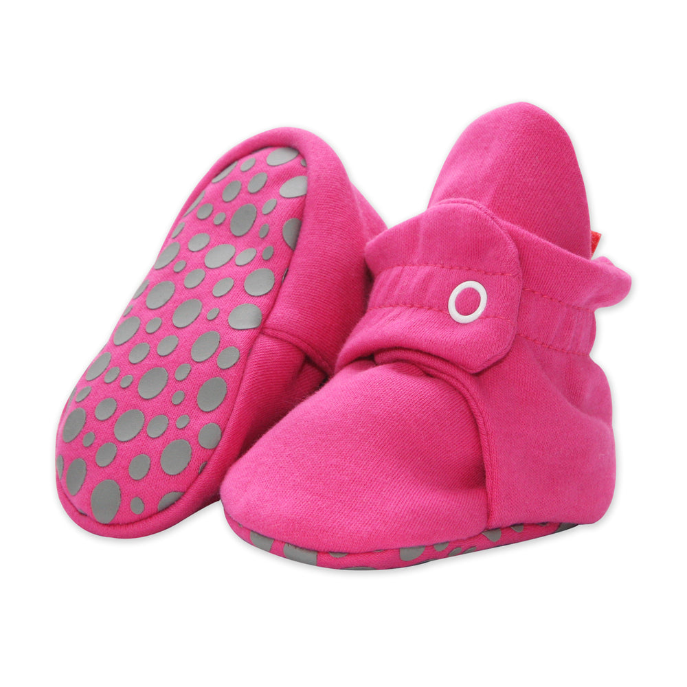 Cotton Gripper Baby Bootie, Fuschia