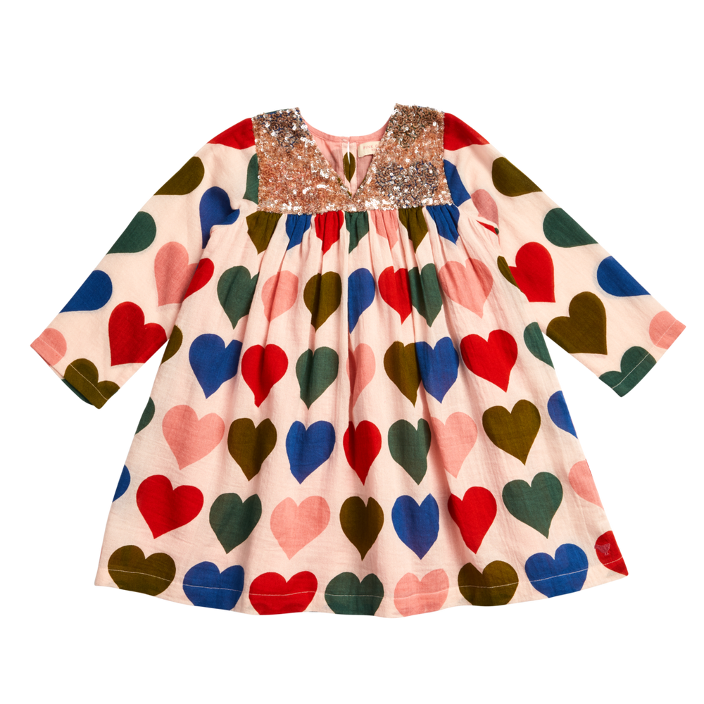 Courtney Dress, Strawberry Cream Multi Hearts