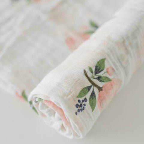 "Cotton Muslin Swaddle, ""Watercolor Rose"""