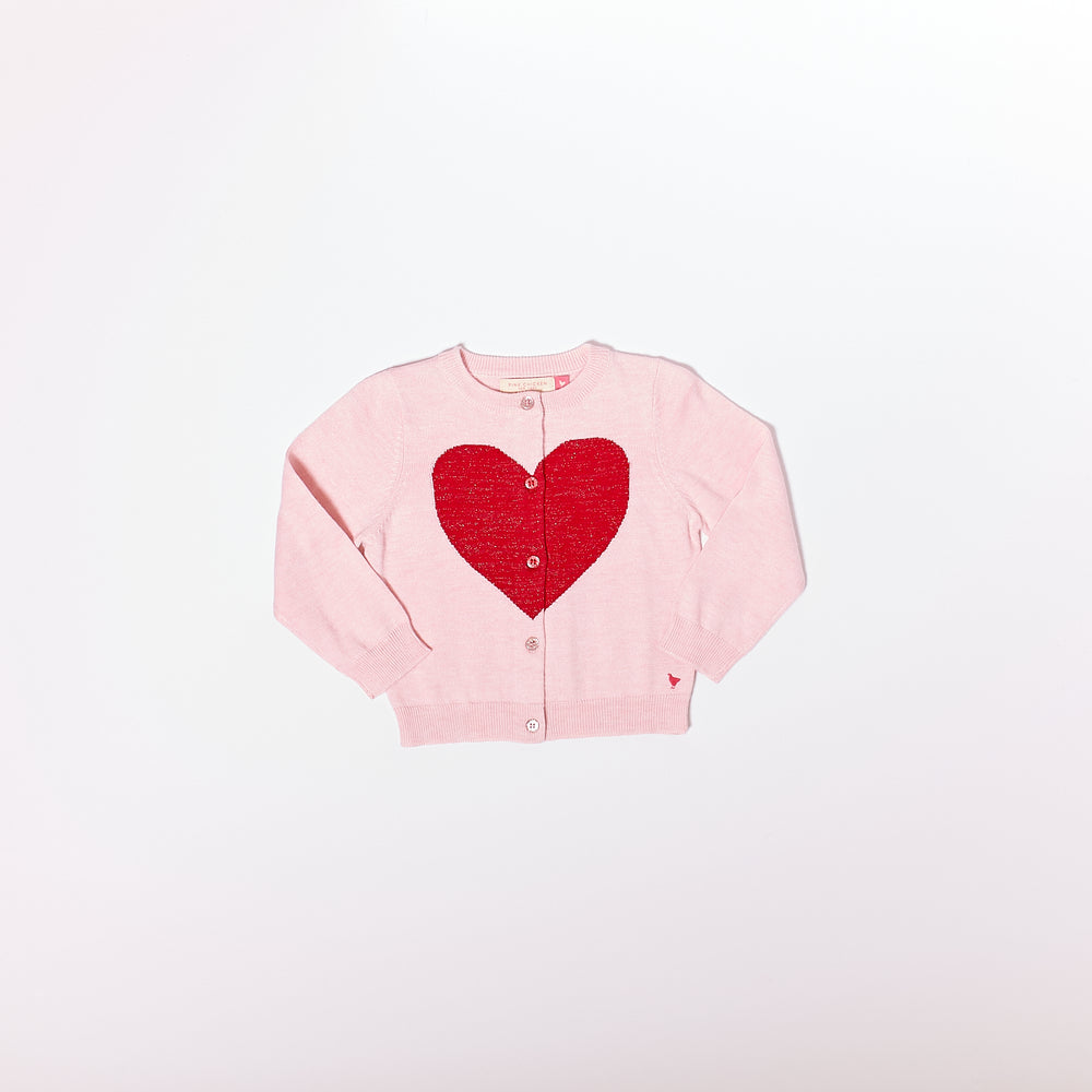 Hannah Heart Sweater, Pale Pink