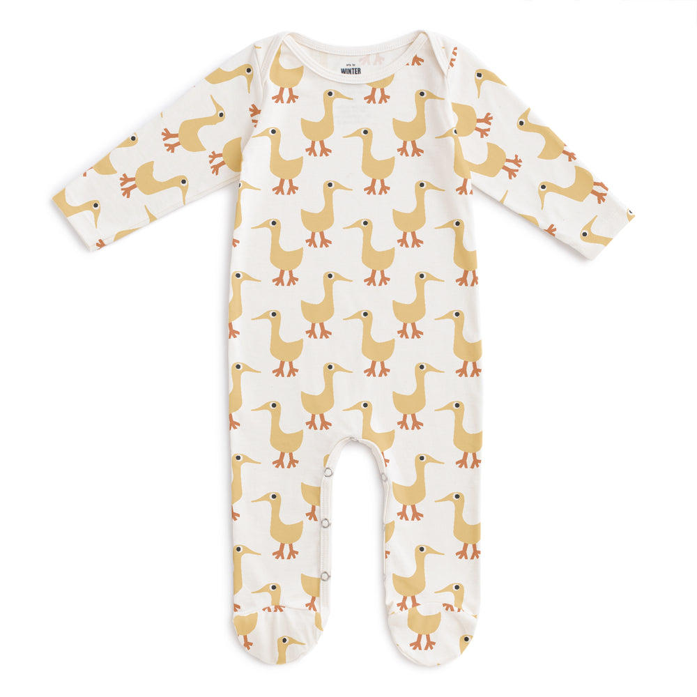 Footed Romper, Ducks in Yellow