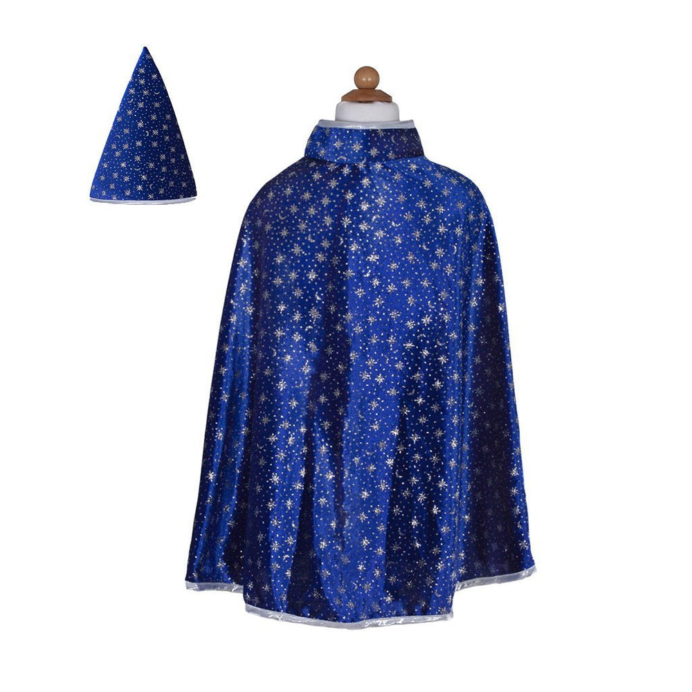 Wizard Cape and Hat, Blue Glitter Great Pretenders