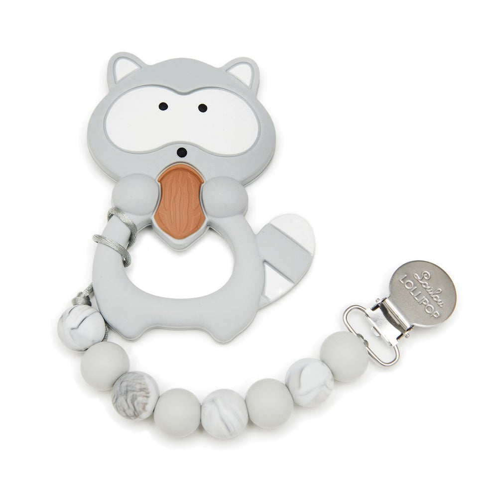 Gray Raccoon Silicone Teether Holder Set