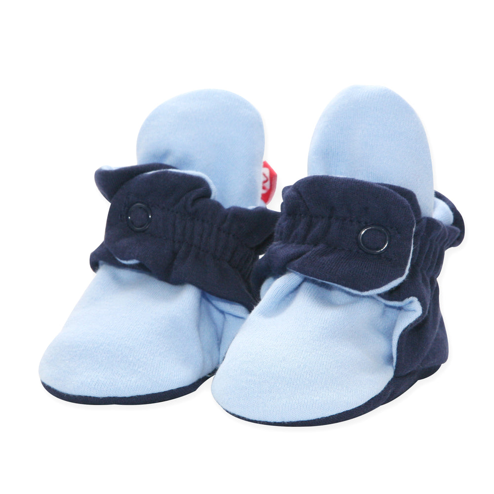 Color Block Organic Cotton Baby Bootie, True Navy/Light Blue