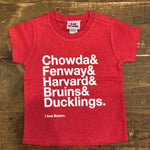 I Love Boston Onesies & Tees, Red with White Writing Kid Crush