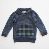 Thimble Collection Shawl Collar Sweatshirt in Heather Navy