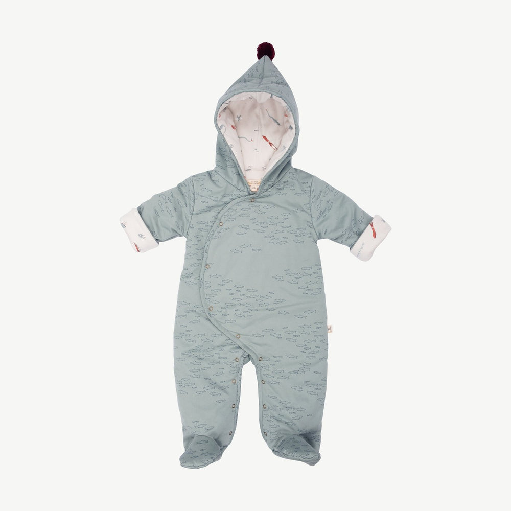 Schooling Fish Padded Jumpsuit, Chinoiserie Green